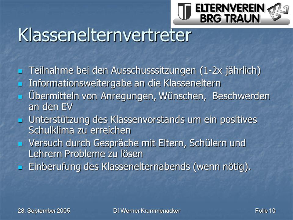 28. September 2005DI Werner KrummenackerFolie 10 Klassenelternvertreter Teilnahme bei den Ausschusssitzungen (1-2x jährlich) Teilnahme bei den Ausschu