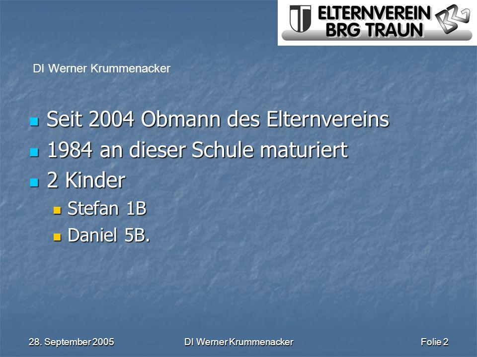 28. September 2005DI Werner KrummenackerFolie 2 Seit 2004 Obmann des Elternvereins Seit 2004 Obmann des Elternvereins 1984 an dieser Schule maturiert