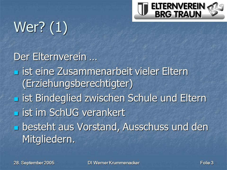 28. September 2005DI Werner KrummenackerFolie 3 Wer? (1) Der Elternverein … ist eine Zusammenarbeit vieler Eltern (Erziehungsberechtigter) ist eine Zu