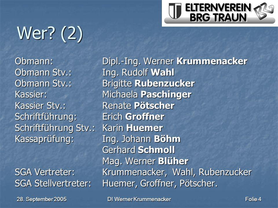 28. September 2005DI Werner KrummenackerFolie 4 Wer? (2) Obmann:Dipl.-Ing. Werner Krummenacker Obmann Stv.: Ing. Rudolf Wahl Obmann Stv.: Brigitte Rub
