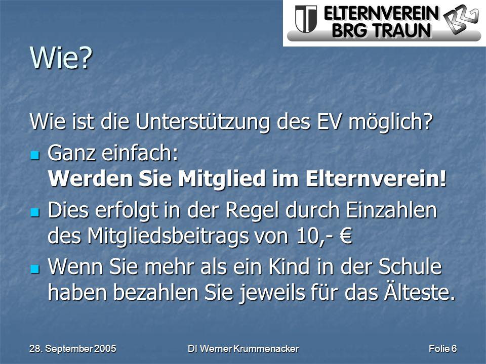28. September 2005DI Werner KrummenackerFolie 6 Wie? Wie ist die Unterstützung des EV möglich? Ganz einfach: Werden Sie Mitglied im Elternverein! Ganz