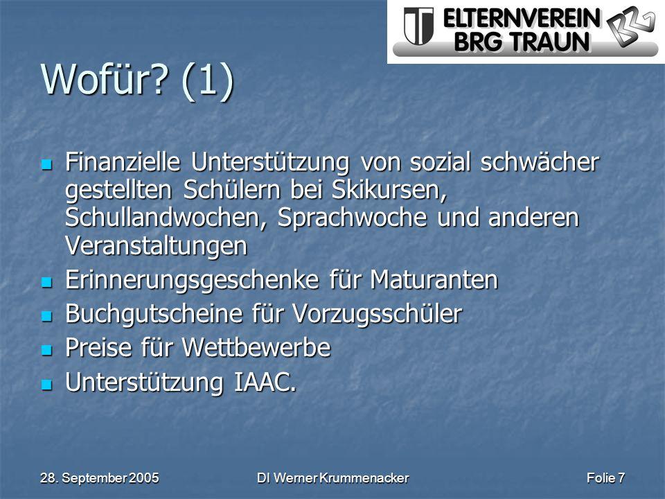 28. September 2005DI Werner KrummenackerFolie 7 Wofür? (1) Finanzielle Unterstützung von sozial schwächer gestellten Schülern bei Skikursen, Schulland
