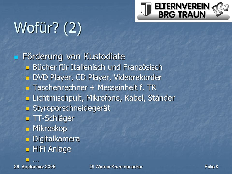 28. September 2005DI Werner KrummenackerFolie 8 Wofür? (2) Förderung von Kustodiate Förderung von Kustodiate Bücher für Italienisch und Französisch Bü
