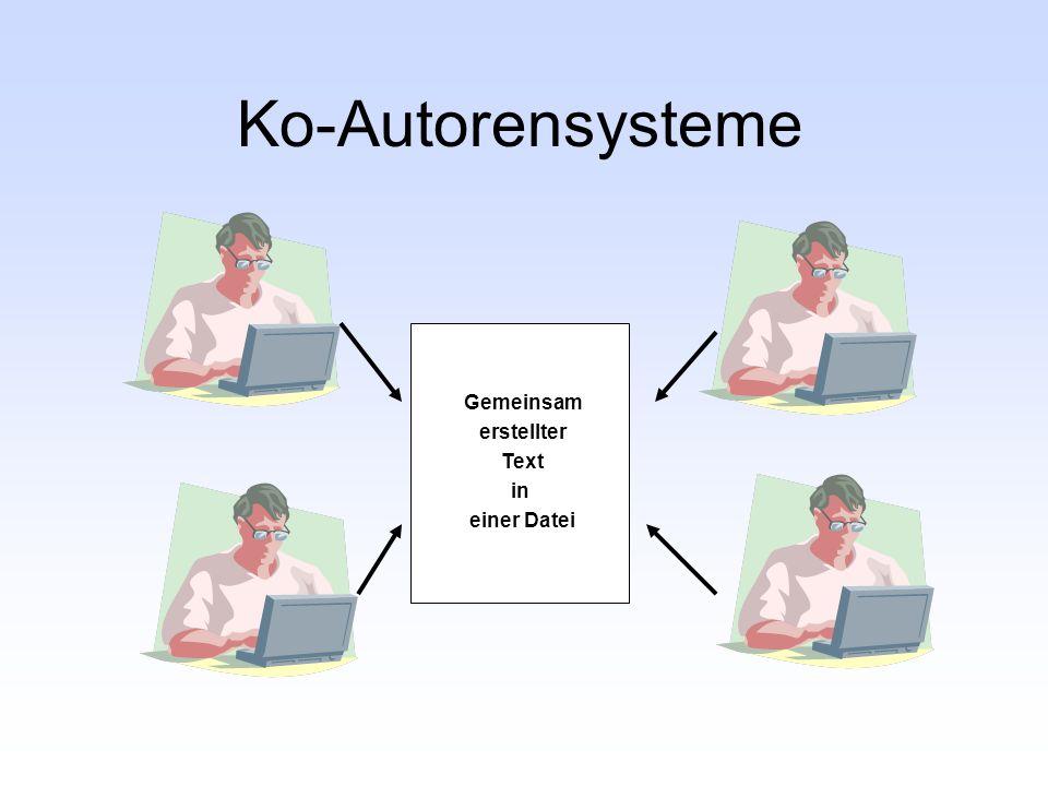 Ko-Autorensysteme Gemeinsam erstellter Text in einer Datei
