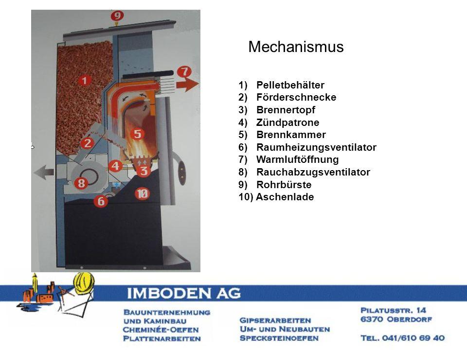 Mechanismus 1) Pelletbehälter 2) Förderschnecke 3) Brennertopf 4) Zündpatrone 5) Brennkammer 6) Raumheizungsventilator 7) Warmluftöffnung 8) Rauchabzu
