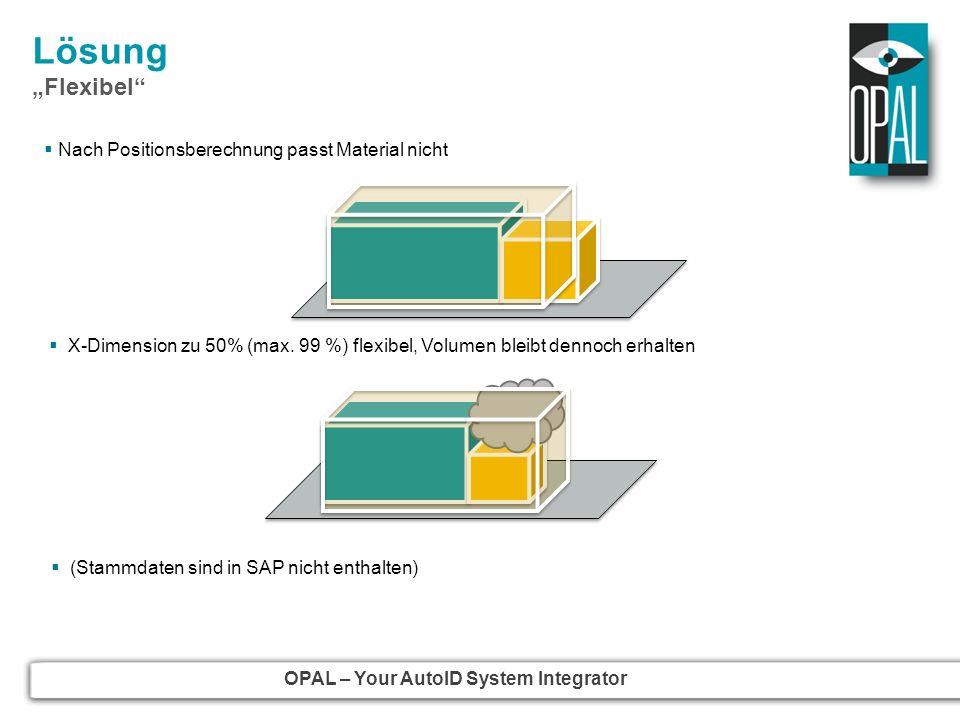 OPAL – Your AutoID System Integrator Lösung Flexibel X-Dimension zu 50% (max. 99 %) flexibel, Volumen bleibt dennoch erhalten z.B. Kabel, Jacken (Stam