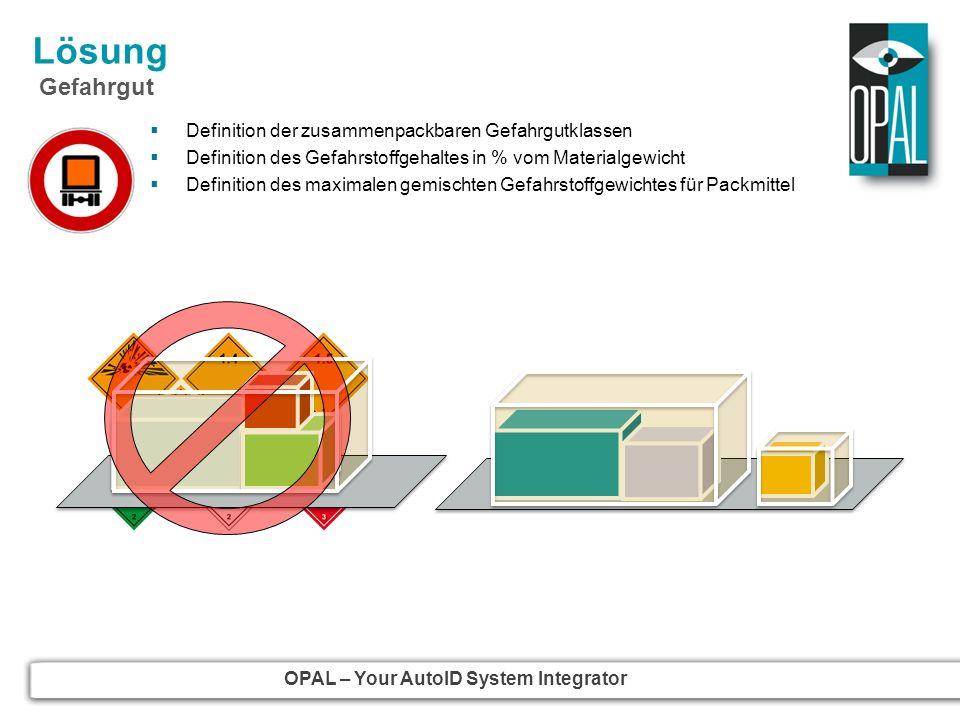 OPAL – Your AutoID System Integrator Lösung Gefahrgut Definition der zusammenpackbaren Gefahrgutklassen Definition des Gefahrstoffgehaltes in % vom Ma