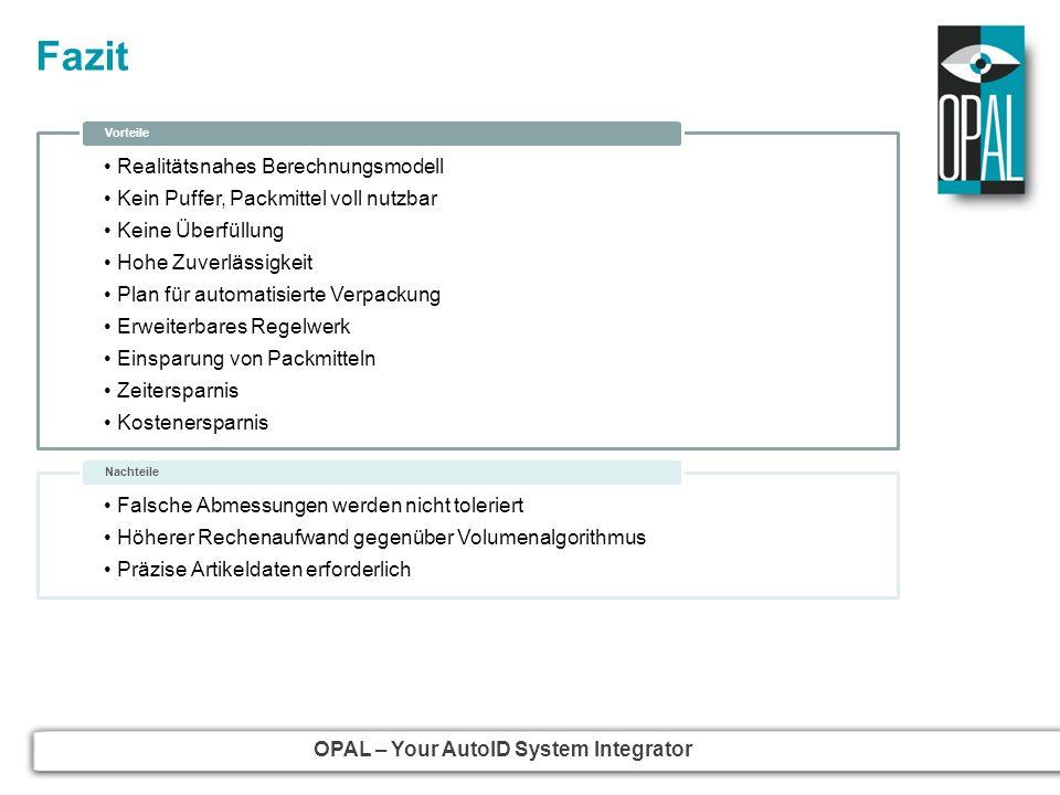 OPAL – Your AutoID System Integrator Fazit Realitätsnahes Berechnungsmodell Kein Puffer, Packmittel voll nutzbar Keine Überfüllung Hohe Zuverlässigkei