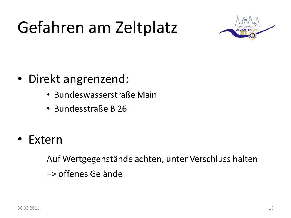 Gefahren am Zeltplatz Direkt angrenzend: Bundeswasserstraße Main Bundesstraße B 26 Extern Auf Wertgegenstände achten, unter Verschluss halten => offenes Gelände 30.03.201118