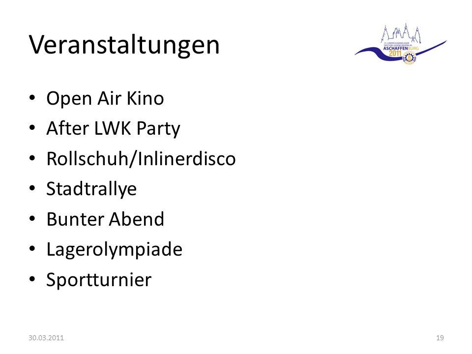 Veranstaltungen Open Air Kino After LWK Party Rollschuh/Inlinerdisco Stadtrallye Bunter Abend Lagerolympiade Sportturnier 30.03.201119