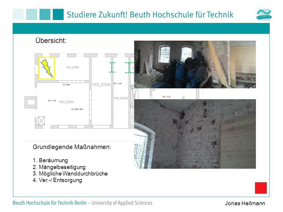 Grundlegende Maßnahmen: 1. Beräumung 2. Mängelbeseitigung 3. Mögliche Wanddurchbrüche 4. Ver.-/ Entsorgung Übersicht: Jonas Hellmann