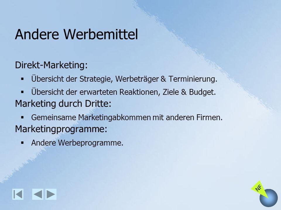 NF Andere Werbemittel Direkt-Marketing: Übersicht der Strategie, Werbeträger & Terminierung. Übersicht der erwarteten Reaktionen, Ziele & Budget. Mark