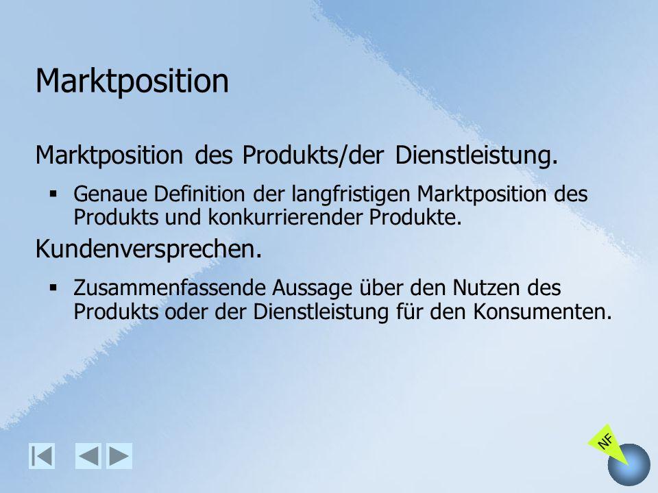 NF Marktposition Marktposition des Produkts/der Dienstleistung. Genaue Definition der langfristigen Marktposition des Produkts und konkurrierender Pro
