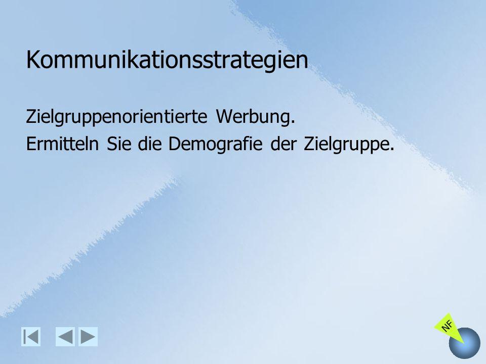 NF Kommunikationsstrategien Zielgruppenorientierte Werbung. Ermitteln Sie die Demografie der Zielgruppe.