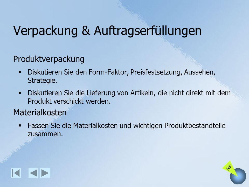 NF Verpackung & Auftragserfüllungen Produktverpackung Diskutieren Sie den Form-Faktor, Preisfestsetzung, Aussehen, Strategie. Diskutieren Sie die Lief