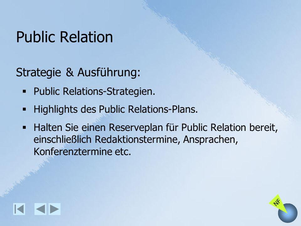 NF Public Relation Strategie & Ausführung: Public Relations-Strategien. Highlights des Public Relations-Plans. Halten Sie einen Reserveplan für Public