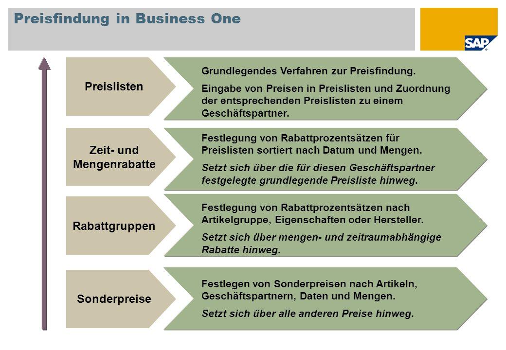 Preisfindung in Business One Grundlegendes Verfahren zur Preisfindung. Eingabe von Preisen in Preislisten und Zuordnung der entsprechenden Preislisten