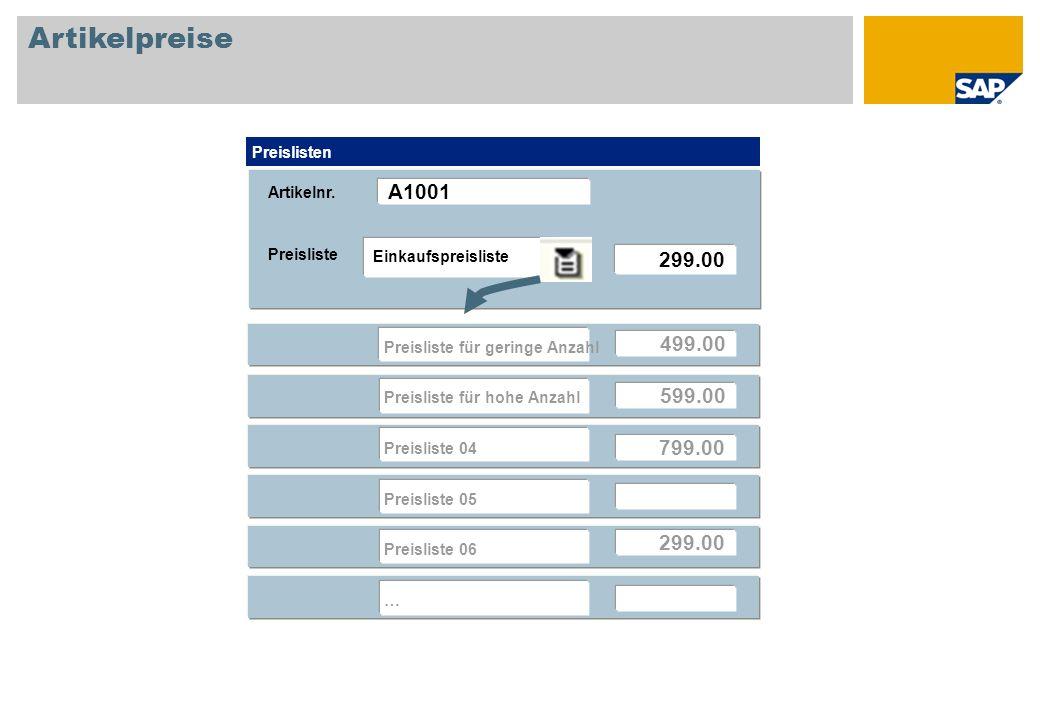 Artikelpreise Preisliste Preislisten 299.00 Einkaufspreisliste 499.00 599.00 799.00 299.00 Preisliste für geringe Anzahl Preisliste für hohe Anzahl Pr