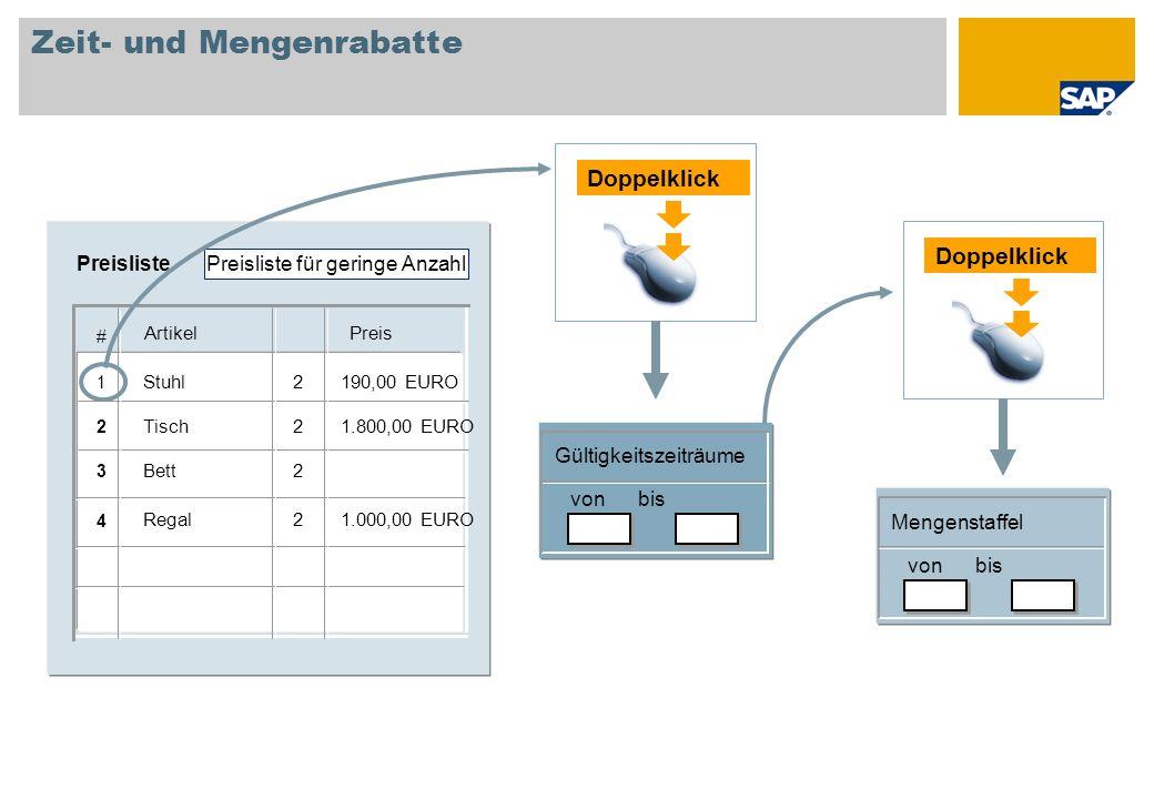 Zeit- und Mengenrabatte Gültigkeitszeiträume von bis Doppelklick Mengenstaffel von bis 1.000,00 EURO2Regal 2Bett 1.800,00 EURO2Tisch 190,00 EURO2Stuhl