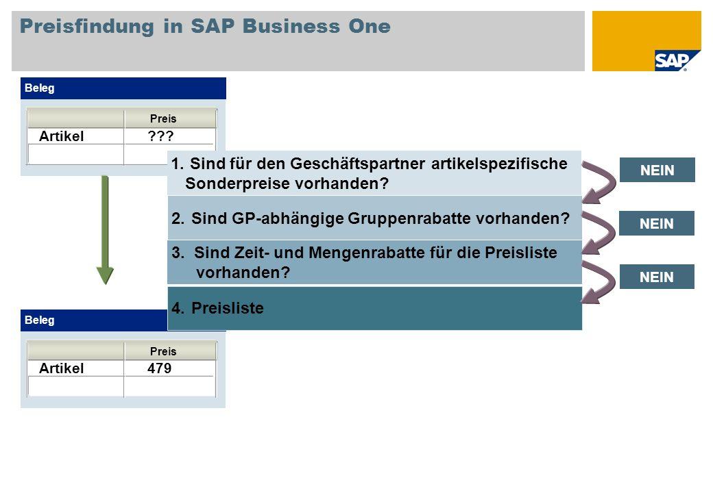 Preisfindung in SAP Business One Beleg Artikel ??? Preis Beleg Artikel 479 Preis NEIN 2.Sind GP-abhängige Gruppenrabatte vorhanden? 3. Sind Zeit- und