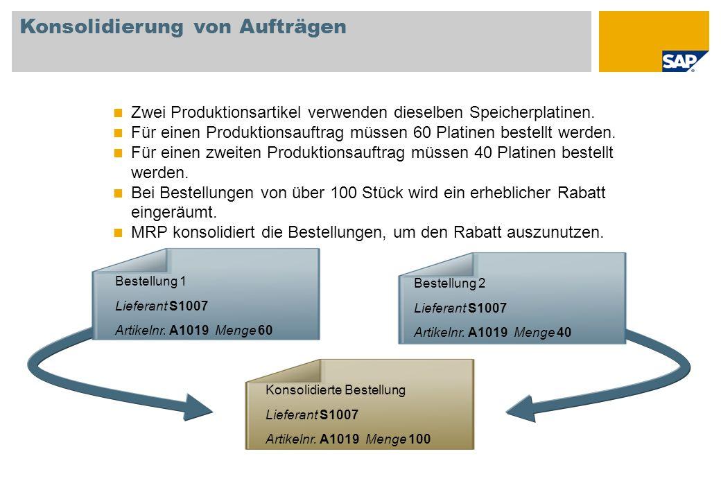 Konsolidierung von Aufträgen Zwei Produktionsartikel verwenden dieselben Speicherplatinen. Für einen Produktionsauftrag müssen 60 Platinen bestellt we