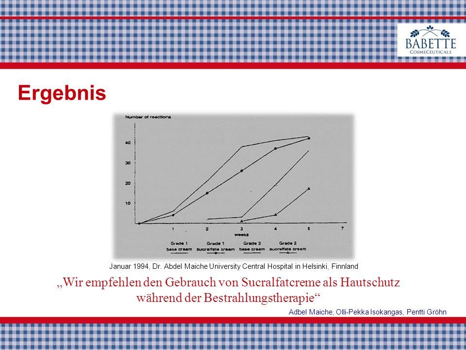 31 13 Wir empfehlen den Gebrauch von Sucralfatcreme als Hautschutz während der Bestrahlungstherapie Adbel Maiche, Olli-Pekka Isokangas, Pentti Gröhn J