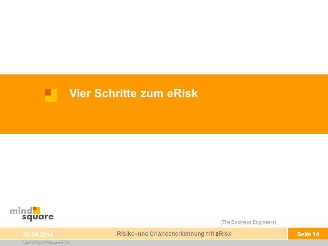 {The Business Engineers} copyright by mindsquare GmbH Seite 14 sheet 14 Vier Schritte zum eRisk 05.04.2014 Risiko- und Chancenerkennung mit eRisk