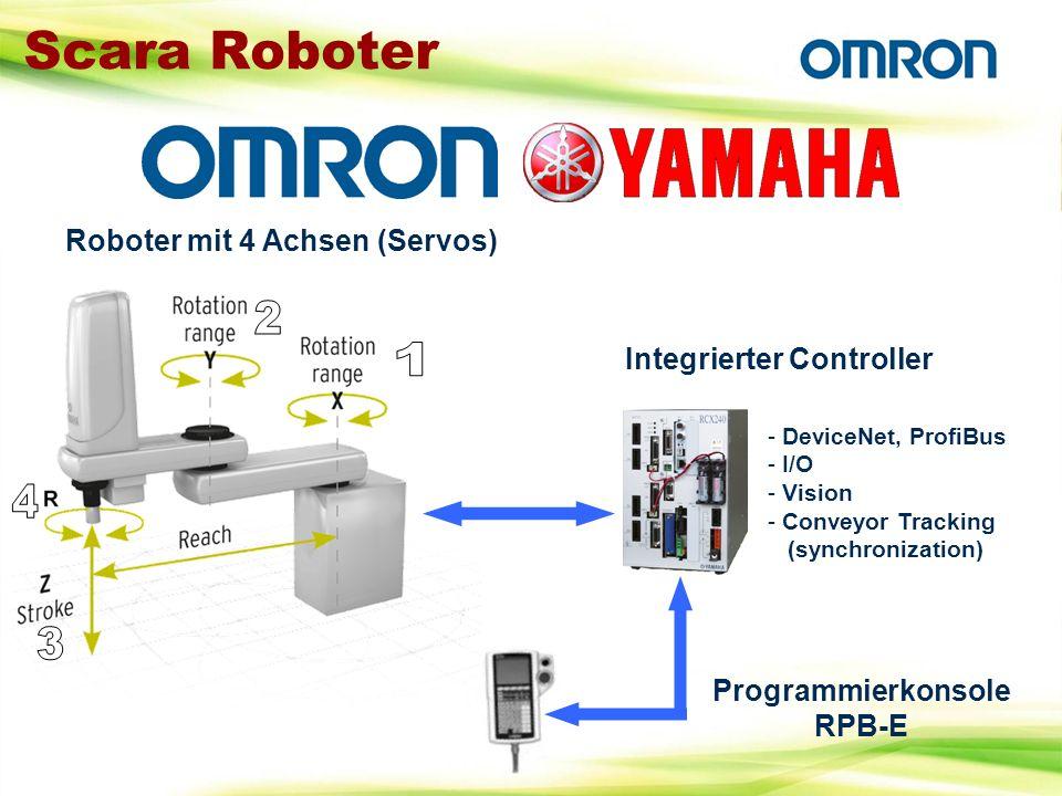 Scara Roboter Roboter mit 4 Achsen (Servos) Integrierter Controller - DeviceNet, ProfiBus - I/O - Vision - Conveyor Tracking (synchronization) Program