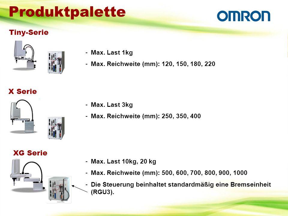 Produktpalette Tiny-Serie -Max. Last 1kg -Max. Reichweite (mm): 120, 150, 180, 220 X Serie -Max. Last 3kg -Max. Reichweite (mm): 250, 350, 400 XG Seri