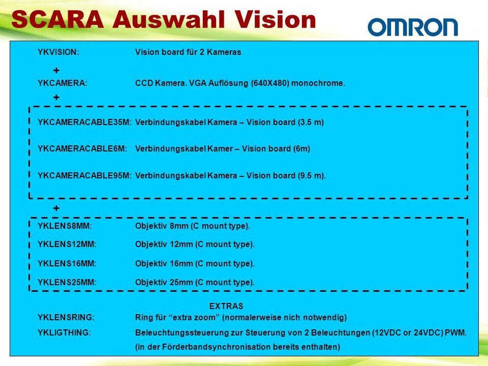 SCARA Auswahl Vision YKVISION:Vision board für 2 Kameras YKCAMERA:CCD Kamera. VGA Auflösung (640X480) monochrome. YKCAMERACABLE35M:Verbindungskabel Ka
