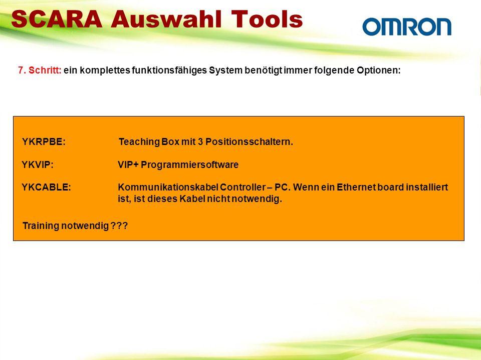 SCARA Auswahl Tools 7. Schritt: ein komplettes funktionsfähiges System benötigt immer folgende Optionen: YKRPBE:Teaching Box mit 3 Positionsschaltern.