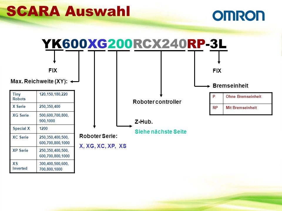 SCARA Auswahl YK600XG200RCX240RP-3L Max. Reichweite (XY): Tiny Robots 120,150,180,220 X Serie250,350,400 XG Serie500,600,700,800, 900,1000 Special X12