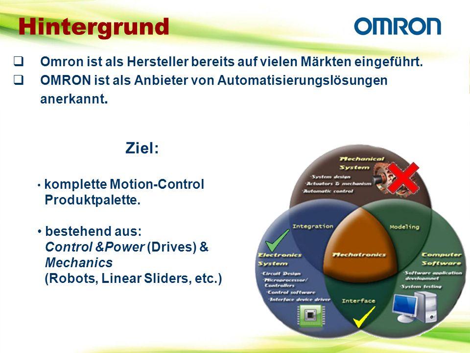 Omron ist als Hersteller bereits auf vielen Märkten eingeführt. OMRON ist als Anbieter von Automatisierungslösungen anerkannt. Hintergrund Ziel: kompl