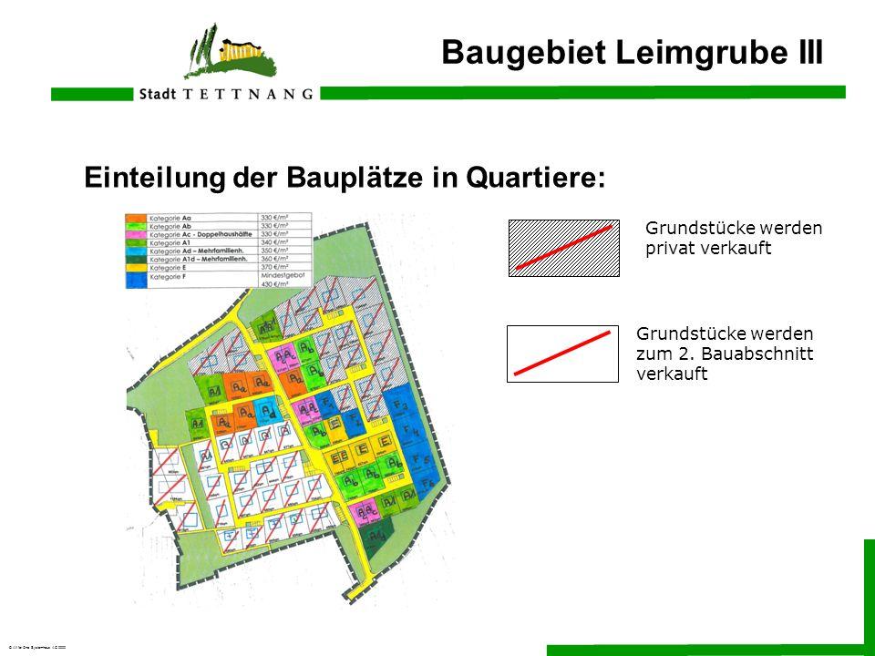 © All for One Systemhaus AG 2000 Einteilung der Bauplätze in Quartiere: Baugebiet Leimgrube III Grundstücke werden privat verkauft Grundstücke werden