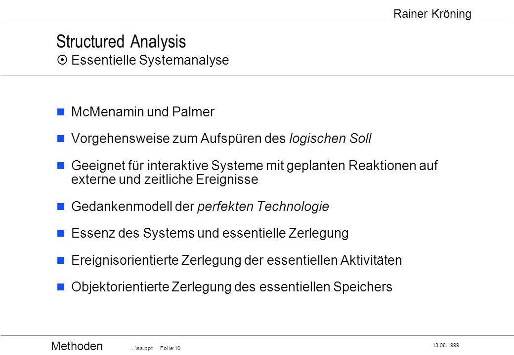 Methoden …\sa.ppt Folie:10 13.08.1999 Rainer Kröning Structured Analysis Essentielle Systemanalyse McMenamin und Palmer Vorgehensweise zum Aufspüren d