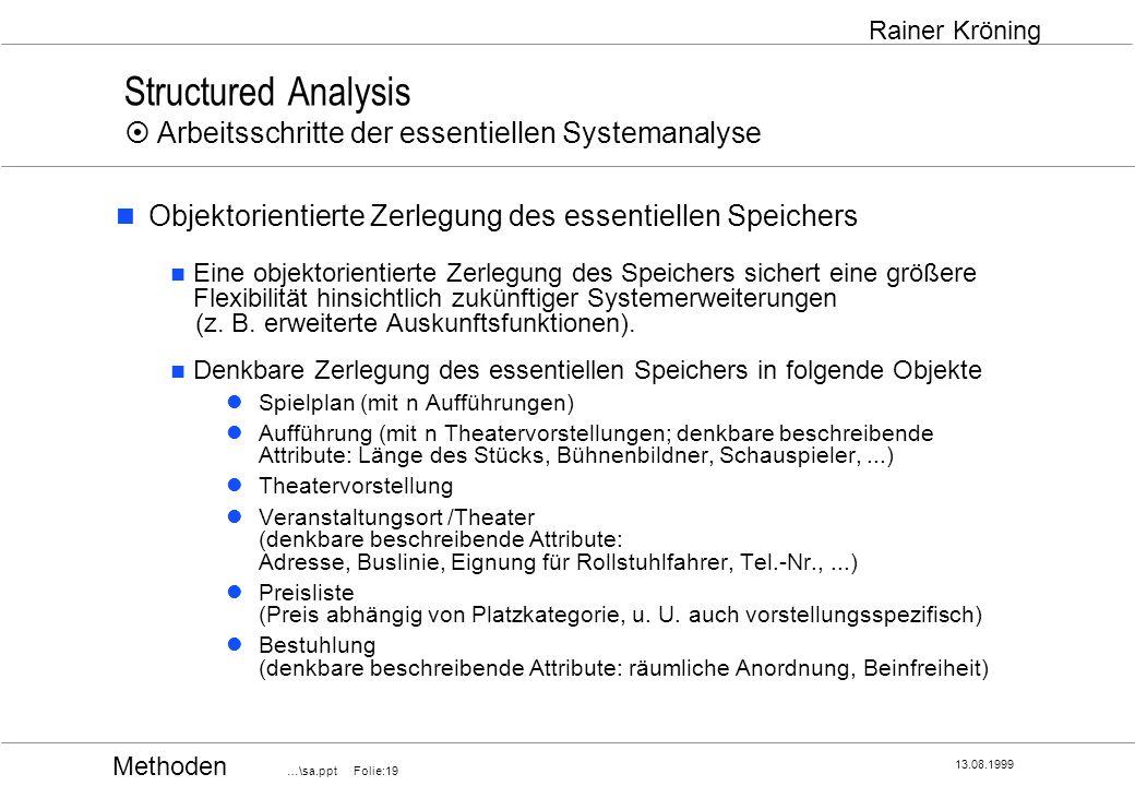 Methoden …\sa.ppt Folie:19 13.08.1999 Rainer Kröning Structured Analysis Arbeitsschritte der essentiellen Systemanalyse Objektorientierte Zerlegung de