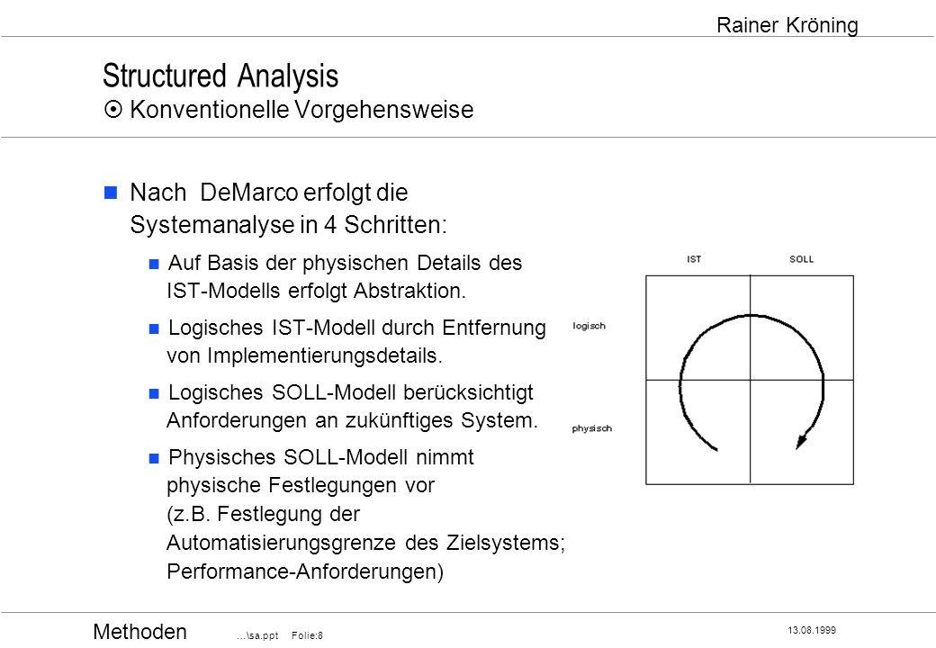 Methoden …\sa.ppt Folie:8 13.08.1999 Rainer Kröning Structured Analysis Konventionelle Vorgehensweise Nach DeMarco erfolgt die Systemanalyse in 4 Schr
