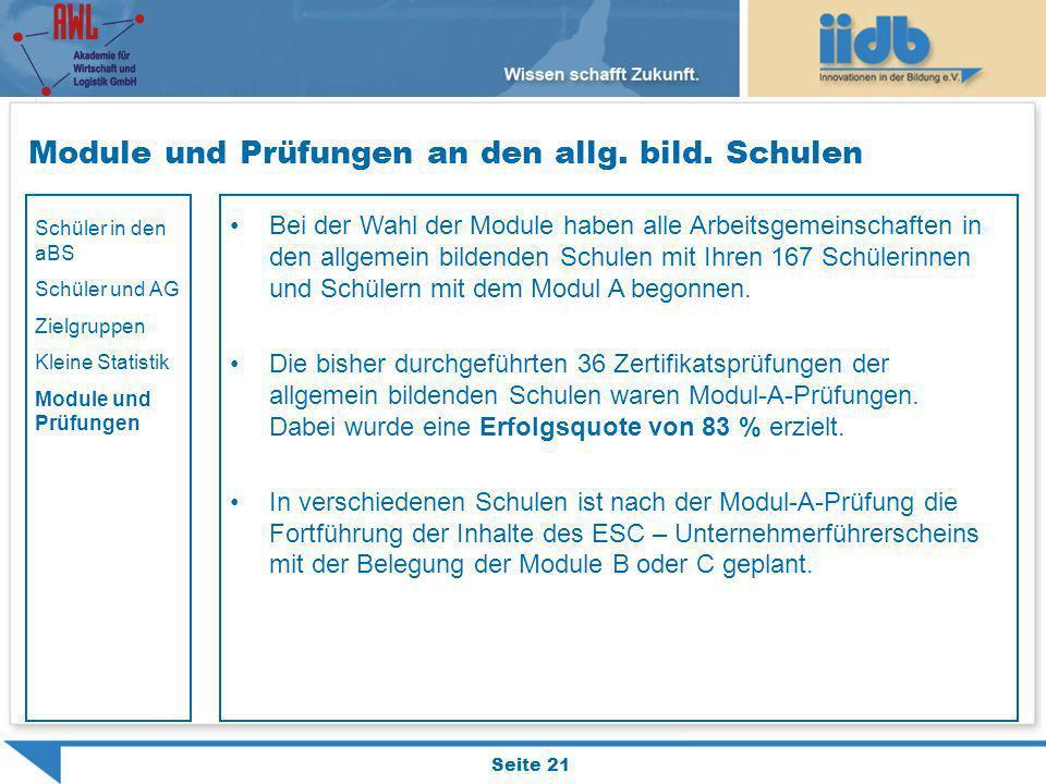 Module und Prüfungen an den allg. bild. Schulen Seite 21 Bei der Wahl der Module haben alle Arbeitsgemeinschaften in den allgemein bildenden Schulen m