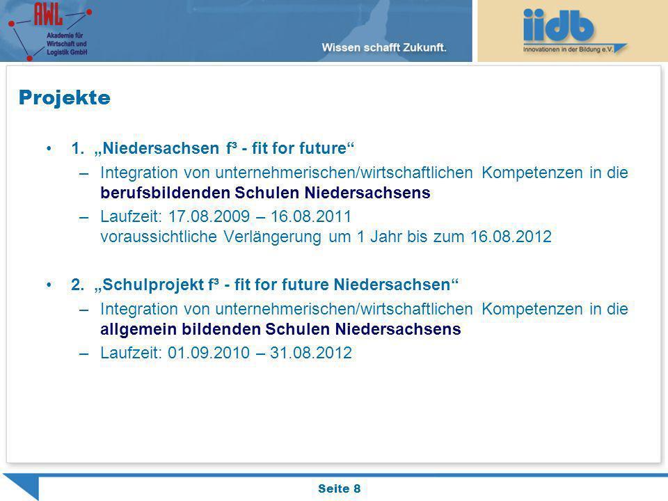 Projekte 1. Niedersachsen f³ - fit for future –Integration von unternehmerischen/wirtschaftlichen Kompetenzen in die berufsbildenden Schulen Niedersac