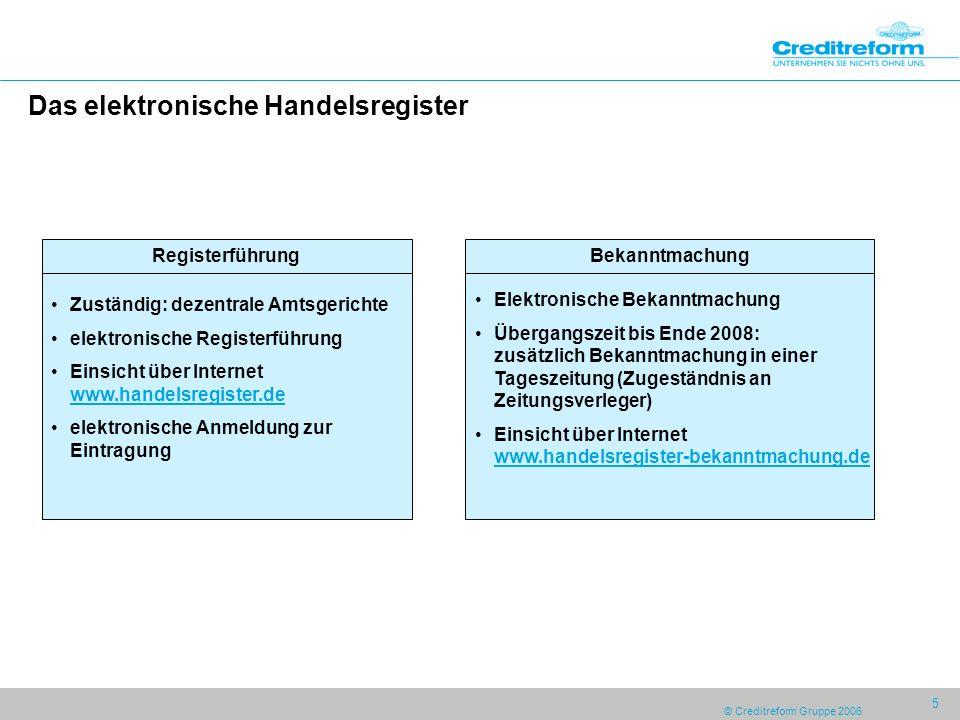 © Creditreform Gruppe 2006 6 Das Unternehmensregister oZuständig: aber:Übertragung auf durch Beleihung oEinsicht: für jedermann über www.unternehmensregister.de
