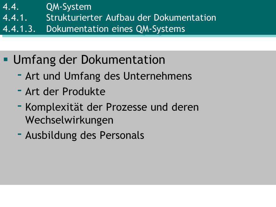 Umfang der Dokumentation - Art und Umfang des Unternehmens - Art der Produkte - Komplexität der Prozesse und deren Wechselwirkungen - Ausbildung des P