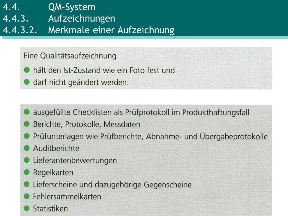 4.4.QM-System 4.4.3.Aufzeichnungen 4.4.3.2.Merkmale einer Aufzeichnung