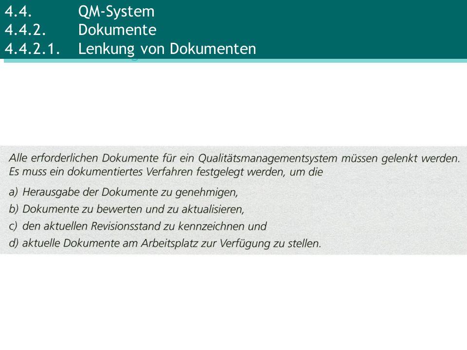 4.4.QM-System 4.4.2.Dokumente 4.4.2.1.Lenkung von Dokumenten