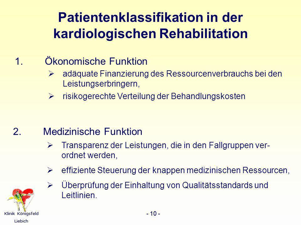 Klinik Königsfeld Liebich - 10 - Klinik Königsfeld Liebich - 10 - Patientenklassifikation in der kardiologischen Rehabilitation 1. Ökonomische Funktio