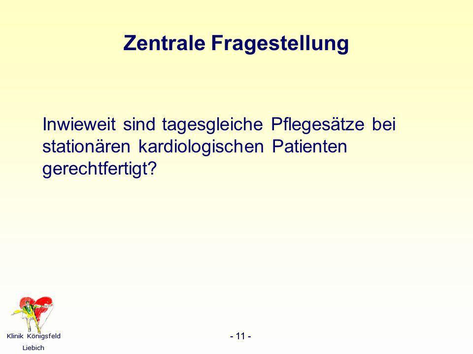 Klinik Königsfeld Liebich - 11 - Klinik Königsfeld Liebich - 11 - Zentrale Fragestellung Inwieweit sind tagesgleiche Pflegesätze bei stationären kardi