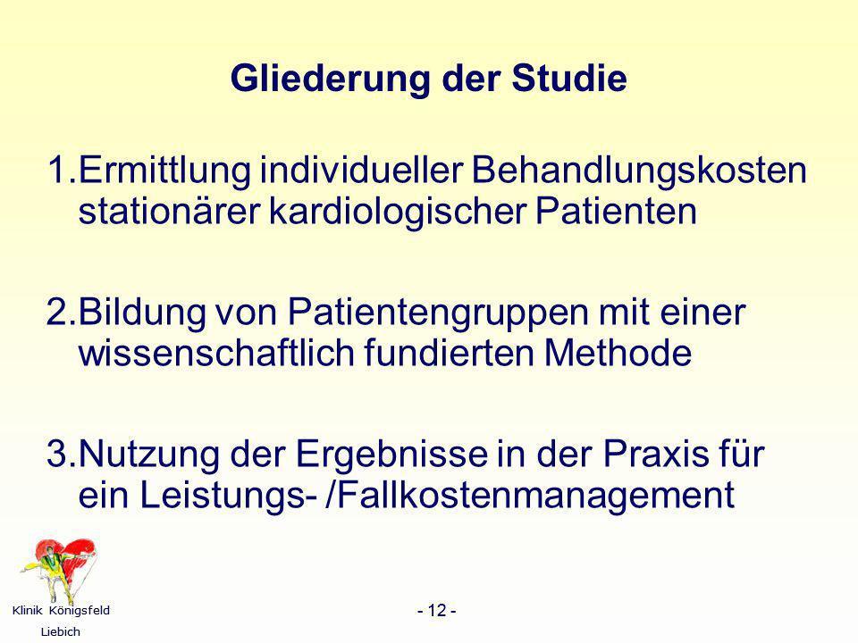 Klinik Königsfeld Liebich - 12 - Klinik Königsfeld Liebich - 12 - Gliederung der Studie 1.Ermittlung individueller Behandlungskosten stationärer kardi