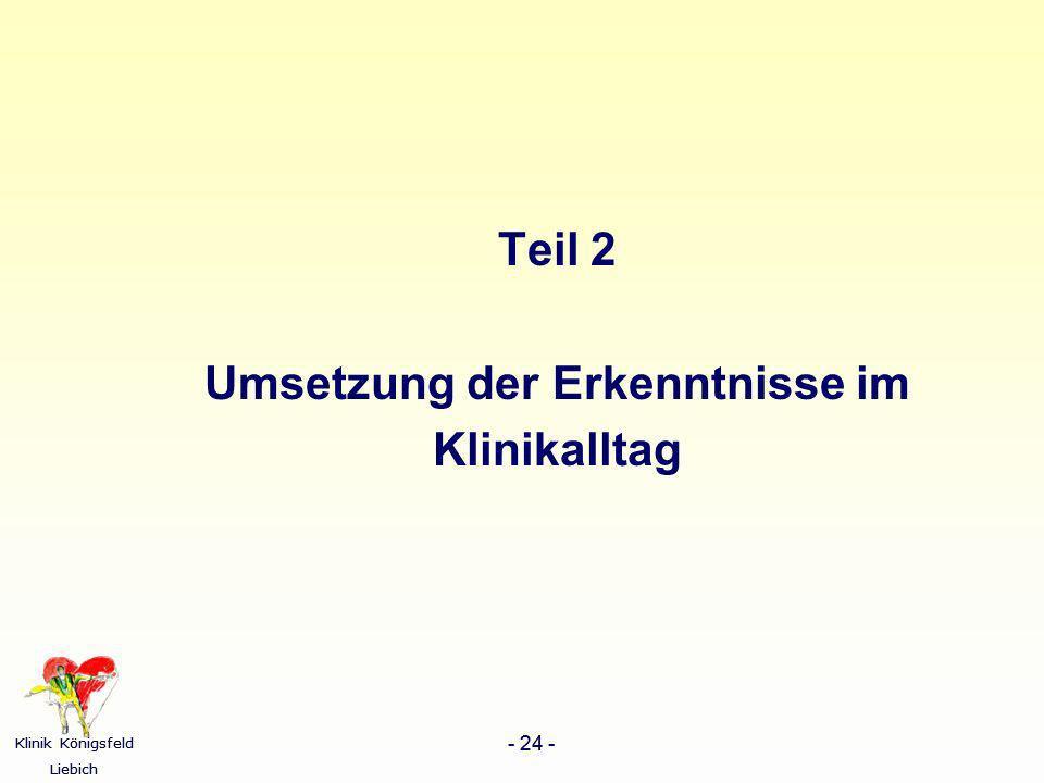 Klinik Königsfeld Liebich - 24 - Klinik Königsfeld Liebich - 24 - Teil 2 Umsetzung der Erkenntnisse im Klinikalltag
