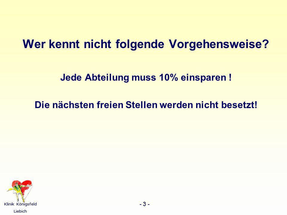 Klinik Königsfeld Liebich - 3 - Klinik Königsfeld Liebich - 3 - Wer kennt nicht folgende Vorgehensweise? Jede Abteilung muss 10% einsparen ! Die nächs