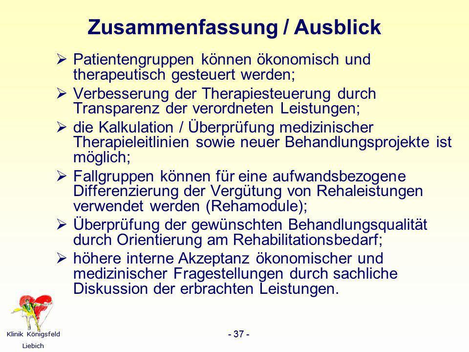 Klinik Königsfeld Liebich - 37 - Klinik Königsfeld Liebich - 37 - Zusammenfassung / Ausblick Patientengruppen können ökonomisch und therapeutisch gest