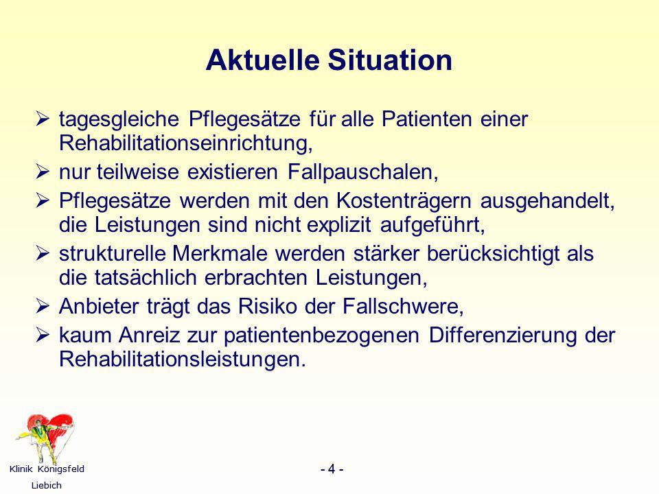 Klinik Königsfeld Liebich - 4 - Klinik Königsfeld Liebich - 4 - Aktuelle Situation tagesgleiche Pflegesätze für alle Patienten einer Rehabilitationsei